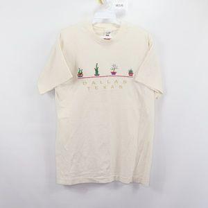 vintage Dallas Texas Cactus Spell Out Shirt Cream